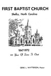 Bulletin - 125th Anniversary Schedule by First Baptist Church Shelby
