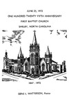 Bulletin - June 25 1972 - 125th Anniversary by First Baptist Church Shelby