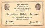 1941 Vacation Bible School Certificate