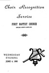 Choir Recognition Service June 4, 1980 by First Baptist Church Shelby
