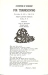 Service of Worship for Thanksgiving November 25, 1970 by First Baptist Church Shelby