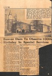 News Clipping - 1950, October 28 - Beaver Dam to Observe 100th Birthday in Special Services by James C. Jolley