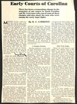 Magazine Clipping - Early Courts of NC - R C Lawrence by R. C. Lawrence
