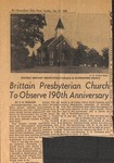 News Clipping - 1958, July 20 - Brittain Presbyterian Church to Observe 190th Anniversary by T. H. Wingate
