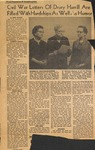 News Clipping - 1962, January 12 - Civil War Letters of Drury Harrill by Mike Palmer
