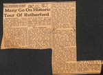 News Clipping - 1953, April 15 - DAR Sponsors Home Tour; Many Go on Historic Home Tour of Rutherford by Unknown