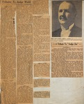Newspapers - Newspaper Clippings Pg - Tributes to Judge Webb by Unknown