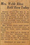 Newspapers - 1938, February 16 - Mrs. Webb Rites Held Here Today