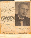 Newspaper Clipping - Dr. Harlan Harris