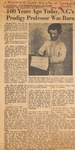 News Clipping - 100 Years Ago Today, NC's Prodigy Professor was Born