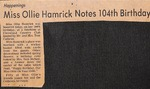 News Clipping - Ollie Hamrick by Unknown