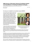 GWU School of Education Doctoral Candidates Publish Learning Module on Creating Conditions for Equity by Office of University Communications
