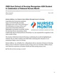 GWU Hunt School of Nursing Recognizes ASN Student in Celebration of National Nurses Month