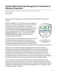 Gardner-Webb University Recognized for Excellence in Educator Preparation