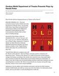 Gardner-Webb Department of Theatre Presents Plays by Harold Pinter