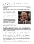 Gardner-Webb University Board of Trustees Names Interim President