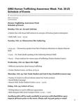 GWU Human Trafficking Awareness Week: Feb. 20-25 Schedule of Events