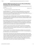 Gardner-Webb University Announces Record-Breaking Enrollment for 2012 Fall Semester