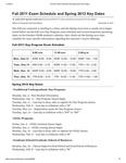 Fall 2011 Exam Schedule and Spring 2012 Key Dates