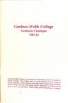 1981 - 1982, Gardner-Webb College Graduate Academic Catalog