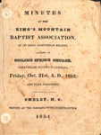 1853 Minutes of the Kings Mountain Baptist Association