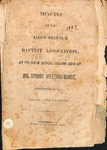 1857 Minutes of the Kings Mountain Baptist Association