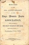 1869 Minutes of the Kings Mountain Baptist Association