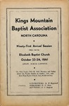 1941 Minutes of the Kings Mountain Baptist Association