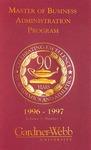 1996 - 1997, Gardner-Webb University Graduate Academic Catalog, Master of Business Administration Program