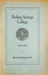 1933 - 1934, Boiling Springs College Academic Catalog